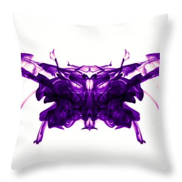 Violet Abstract Butterfly Throw Pillow by Sumit Mehndiratta