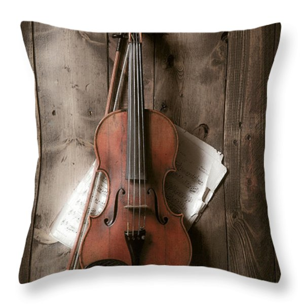 Violin Throw Pillow by Garry Gay