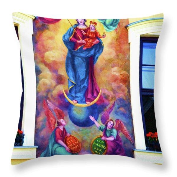 Virgin Mary Mural Throw Pillow by Mariola Bitner