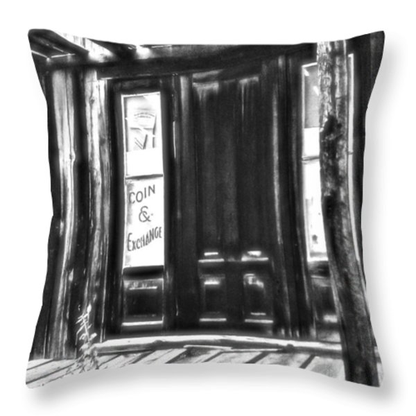 Virginia City Ghost Town Door II Throw Pillow by Susan Kinney
