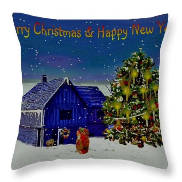 Visit From Santa Christmas Greeting Throw Pillow by Julie  Grace