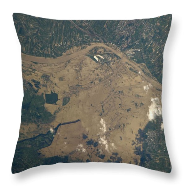 Vistula River Flooding, Southeastern Throw Pillow by NASA/Science Source