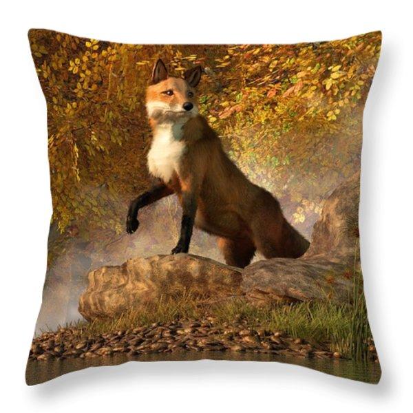Vixen By The River Throw Pillow by Daniel Eskridge