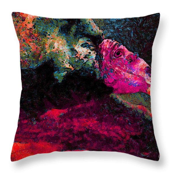 Vulture In Van Gogh.s Dream . V2 . 40d8879 Throw Pillow by Wingsdomain Art and Photography
