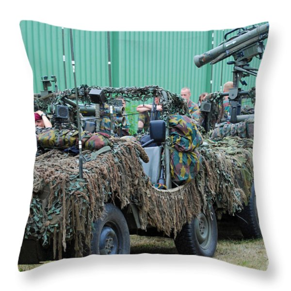 Vw Iltis Jeeps Of A Recce Scout Unit Throw Pillow by Luc De Jaeger