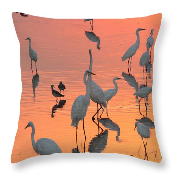Wading Birds Forage In Colorful Sunset Throw Pillow by George Grall