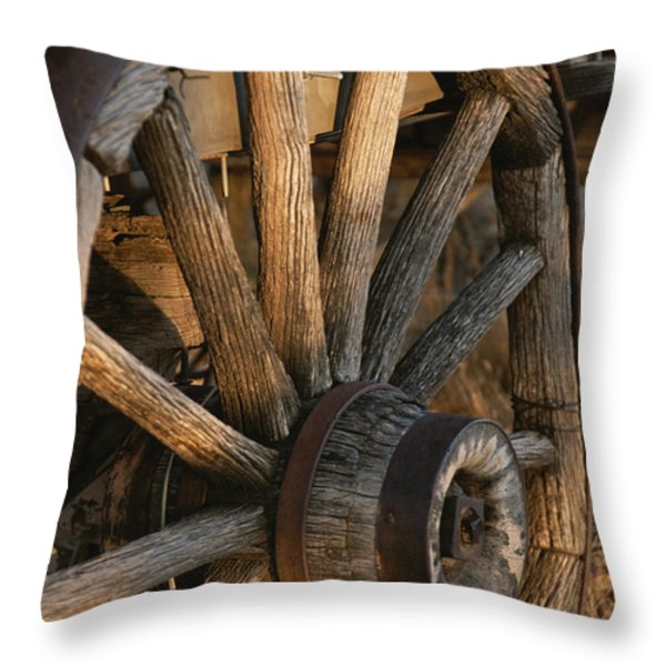 Wagon Wheel On Covered Wagon At Bar 10 Throw Pillow by Todd Gipstein