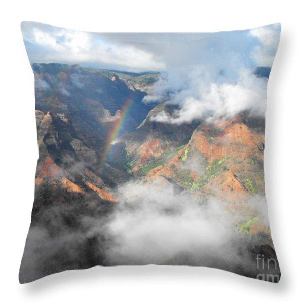 Waimea Canyon Rainbow Throw Pillow by Rebecca Margraf