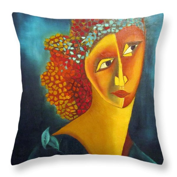 Waiting for partner Orange woman blue cubist face torso tinted hair bold eyes neck flower on dress Throw Pillow by Rachel Hershkovitz