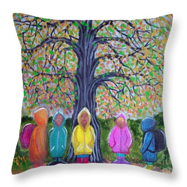 Waiting for the bus Throw Pillow by Nick Gustafson