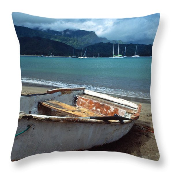 Waiting to Row in Hanalei Bay Throw Pillow by Kathy Yates
