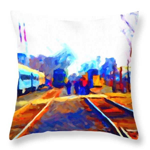 Walking On The Train Tracks In Old Sacramento California . Painterly . Vision 2 Throw Pillow by Wingsdomain Art and Photography