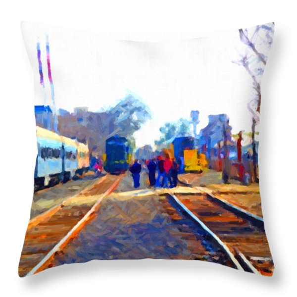 Walking On The Train Tracks In Old Sacramento California . Painterly Throw Pillow by Wingsdomain Art and Photography