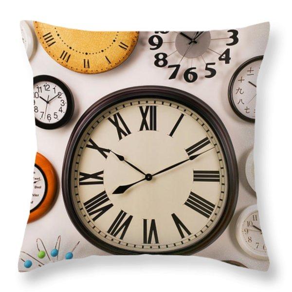 Wall Clocks Throw Pillow by Garry Gay