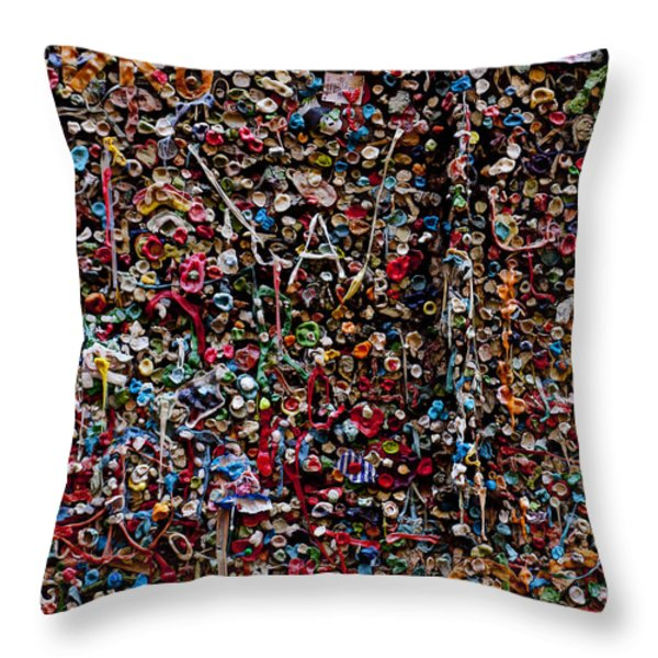 Wall of gum Throw Pillow by Garry Gay