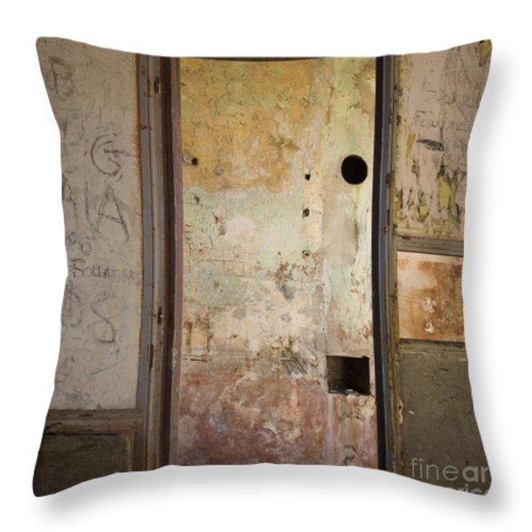 Walls With Graffiti In An Abandoned House. Throw Pillow by Bernard Jaubert