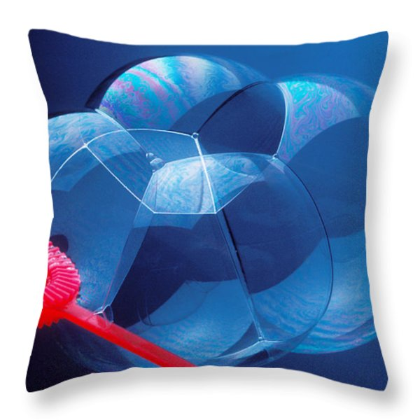 Wand Making Bubbles Throw Pillow by Garry Gay
