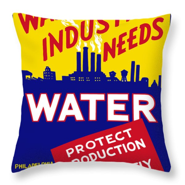 War Industry Needs Water Throw Pillow by War Is Hell Store