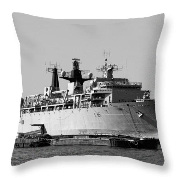 Warship Hms Bulwark Throw Pillow by Jasna Buncic