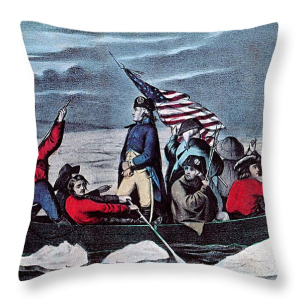 Washington Crossing The Delaware, 1776 Throw Pillow by Photo Researchers