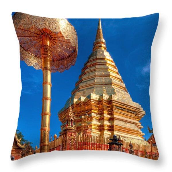Wat Phrathat Doi Suthep Throw Pillow by Adrian Evans