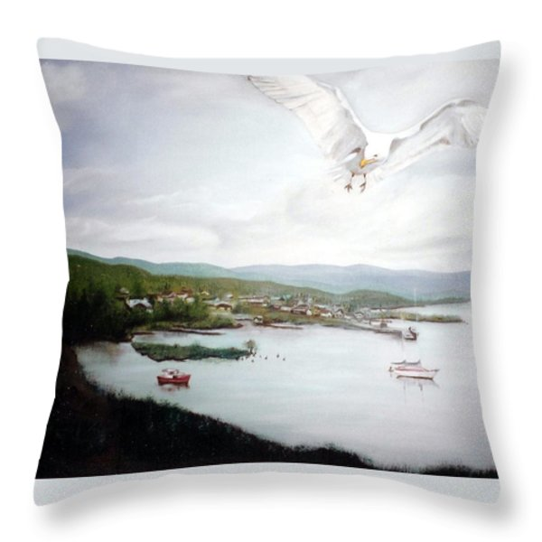 Watching Over  Rossport Throw Pillow by Joyce Reid
