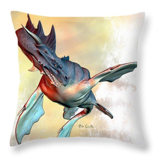 Water Dragon Throw Pillow by Bob Orsillo