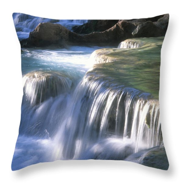 Water Flowes Over Travertine Formations Throw Pillow by Bill Hatcher