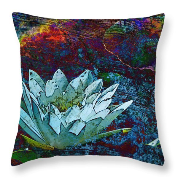 Water Lily Abstract Throw Pillow by Phyllis Denton