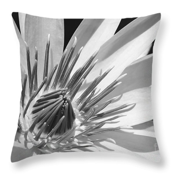 Water Lily Macro In Black And White Throw Pillow by Sabrina L Ryan