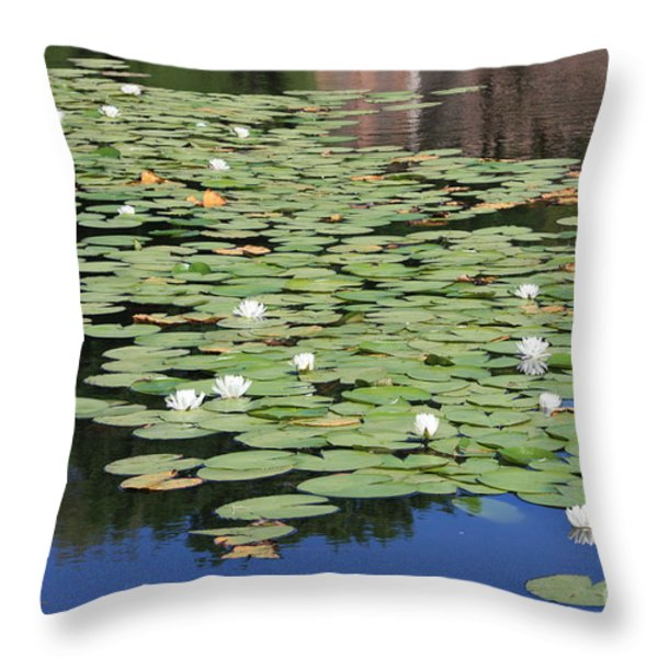 Water Lily Pond Throw Pillow by Carol Groenen