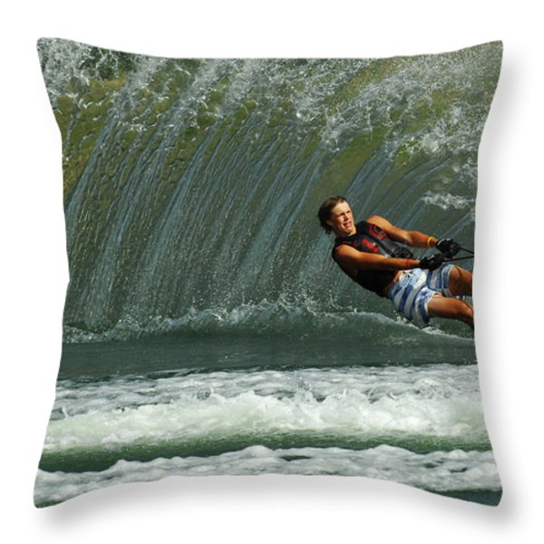 Water Skiing Magic of Water 1 Throw Pillow by Bob Christopher