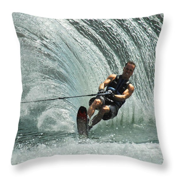 Water Skiing Magic Of Water 10 Throw Pillow by Bob Christopher