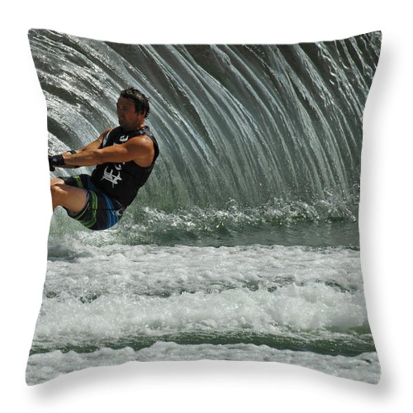 Water Skiing Magic of Water 3 Throw Pillow by Bob Christopher