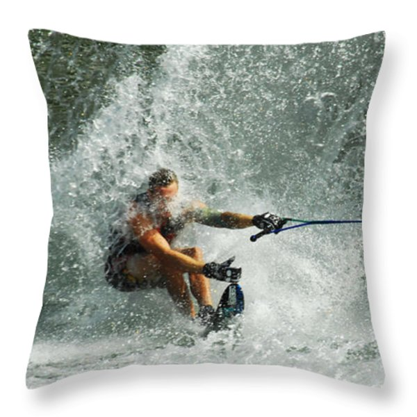 Water Skiing Magic of Water 34 Throw Pillow by Bob Christopher