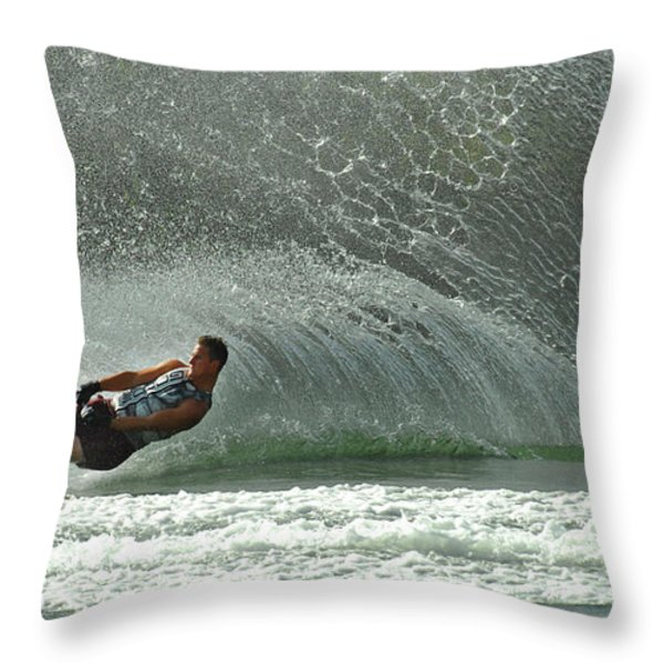 Water Skiing Magic of Water 7 Throw Pillow by Bob Christopher