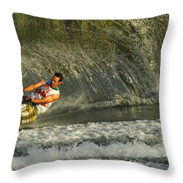 Water Skiing Magic of Water 8 Throw Pillow by Bob Christopher