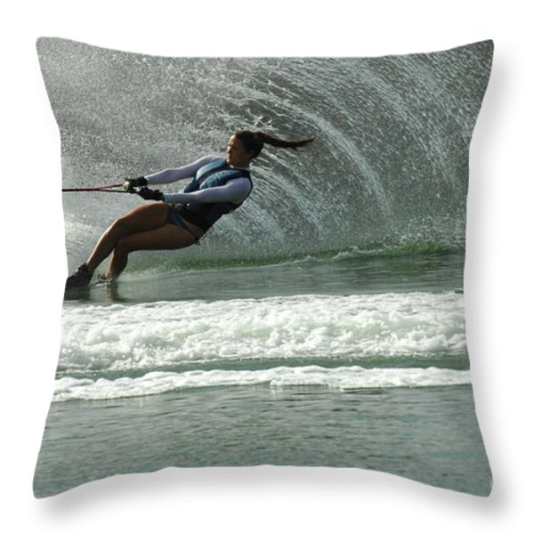 Water Skiing Magic of Water 9 Throw Pillow by Bob Christopher