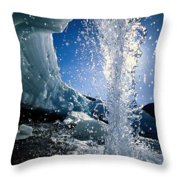 Water Splashes Over A Sheet Of Ice Throw Pillow by Raymond Gehman
