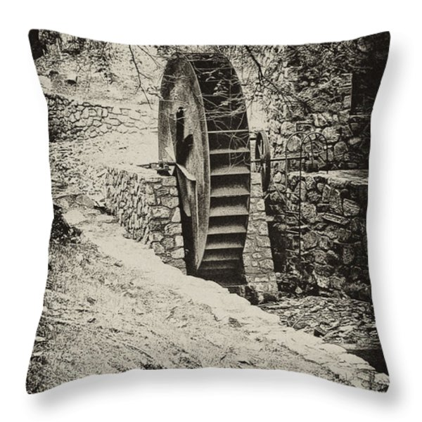Water Wheel Throw Pillow by Bill Cannon