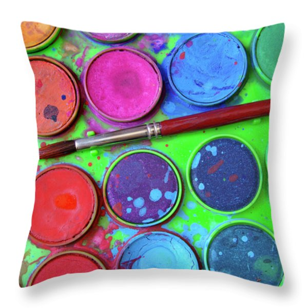 Watercolor Palette Throw Pillow by Carlos Caetano
