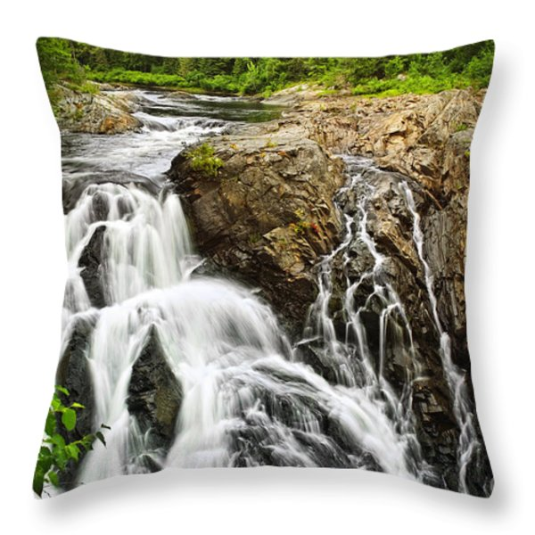 Waterfall in wilderness Throw Pillow by Elena Elisseeva