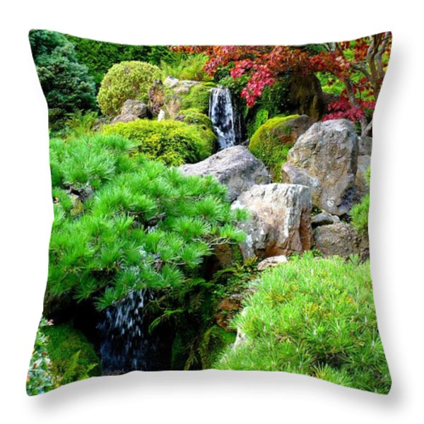 Waterfalls in Japanese Garden Throw Pillow by Carol Groenen