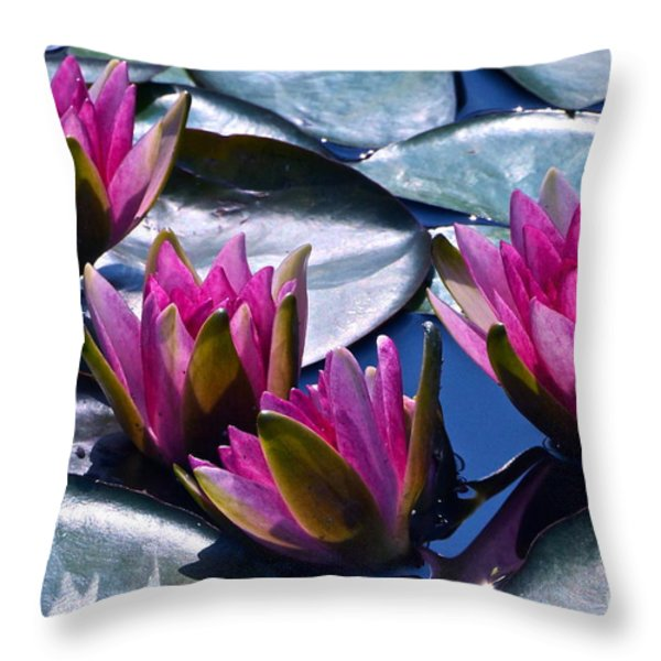 Waterlilies In Bright Sunlight Throw Pillow by Byron Varvarigos