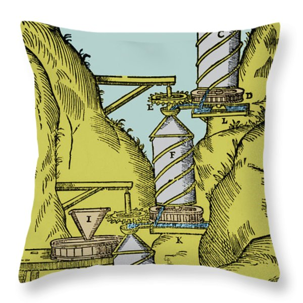 Watermill Reversed Archimedean Screw Throw Pillow by Science Source