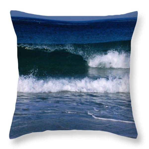 Wave Breaking Left On The Beach At 17 Throw Pillow by James Forte