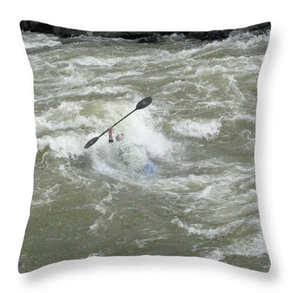Wave Surfing Kayaker Goes Underwater Throw Pillow by Skip Brown