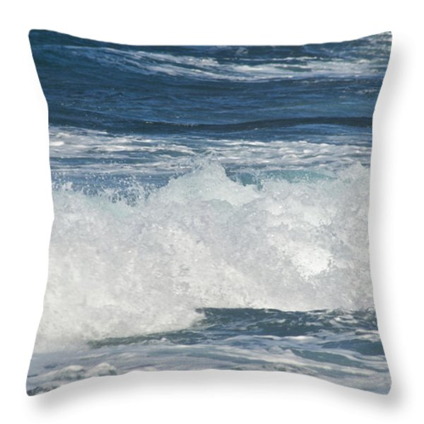 Waves Breaking 7964 Throw Pillow by Michael Peychich