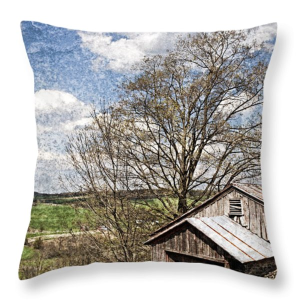 Weathered Hillside Barn Spring Throw Pillow by John Stephens