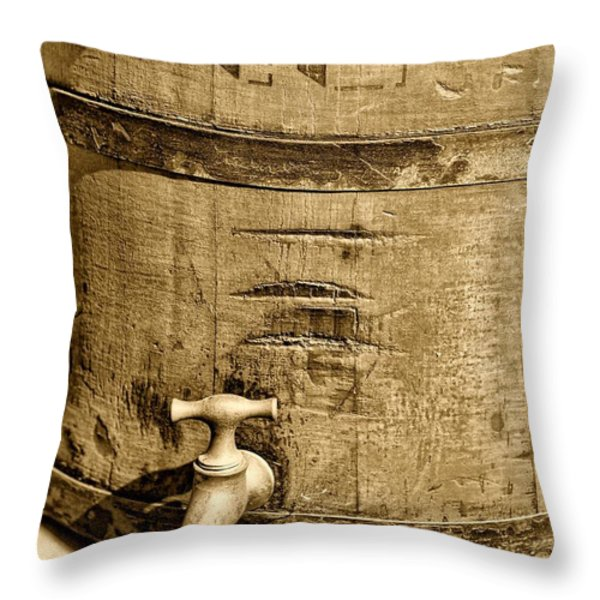 Weathered Wooden Bucket In Sepia Throw Pillow by Paul Ward